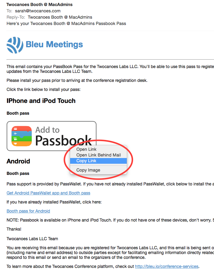 Creating a contact card in passbook with bleu meetings twocanoes after copying the link from your email visit the participants section of your meeting and click to edit the bar code associated with the participant we colourmoves