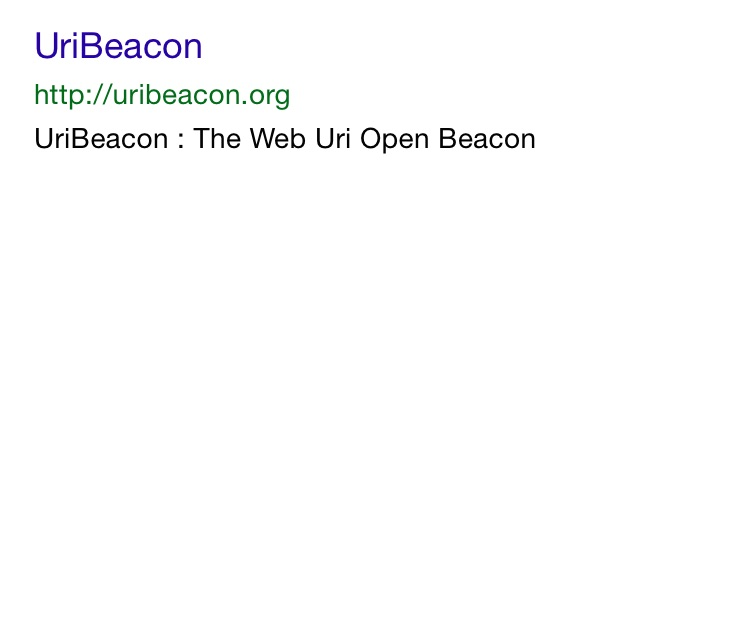 screenshot iOS URI beacon configuration done displays target site